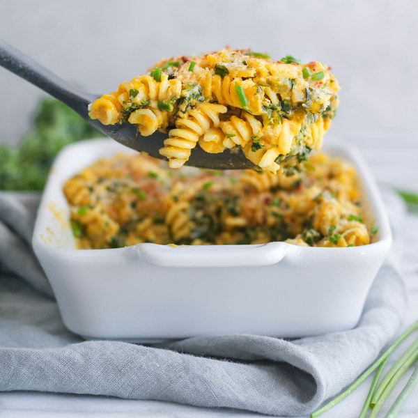 Pumpkin & Ricotta Pasta Bake with Kale, Parmesan & Chives