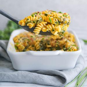 Pumpkin & Ricotta Pasta Bake with Kale, Parmesan & Chives