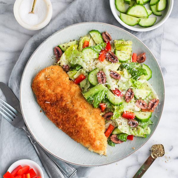 Chicken Milanese & Italian Pizzeria Salad with Creamy Oregano Dressing