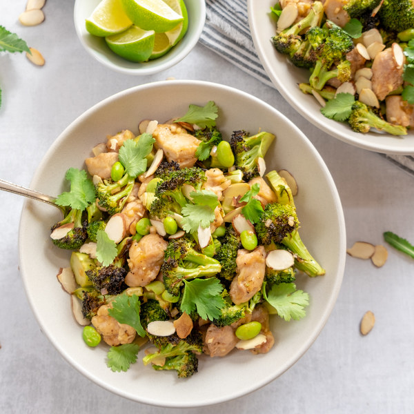 Charred Broccoli Bowl with Chicken, Edamame, Almonds, Cilantro & Lime