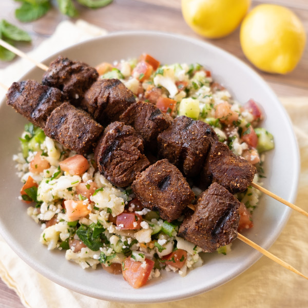 Steak Kabobs with Mediterranean Spice Rub & Cauliflower Tabouli Salad