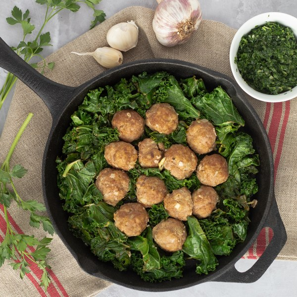 Turkey Meatballs with Sautéed Kale & Lemon Parsley Dressing