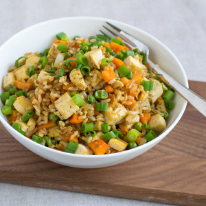 Tofu Fried Rice with Carrots & Peas