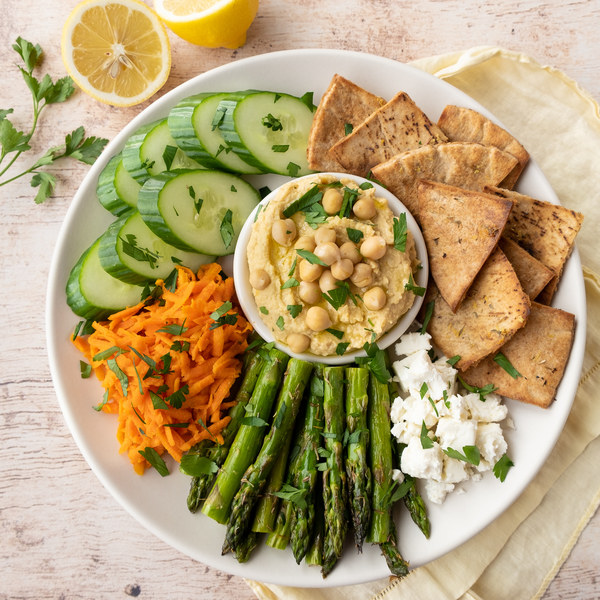 Hummus Plate with Roasted Asparagus, Pita Chips, Carrot Salad & Feta