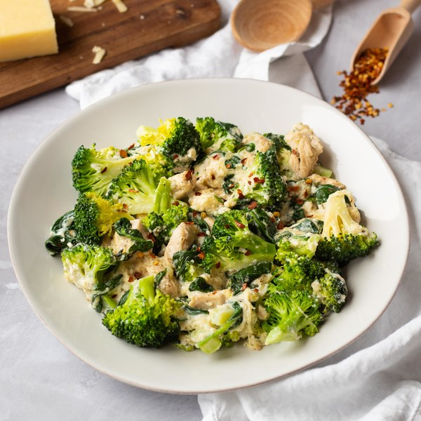 Cheesy Garlic Chicken with Broccoli & Spinach