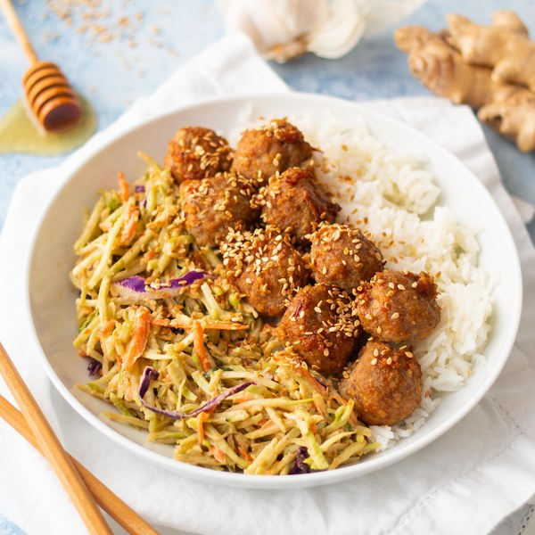 Spicy Turkey Meatballs with Peanut-Broccoli Slaw & Rice