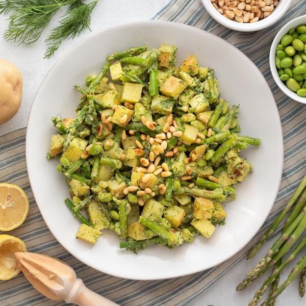 Warm Avocado-Dill Potato Salad with Asparagus, Edamame & Pine Nuts