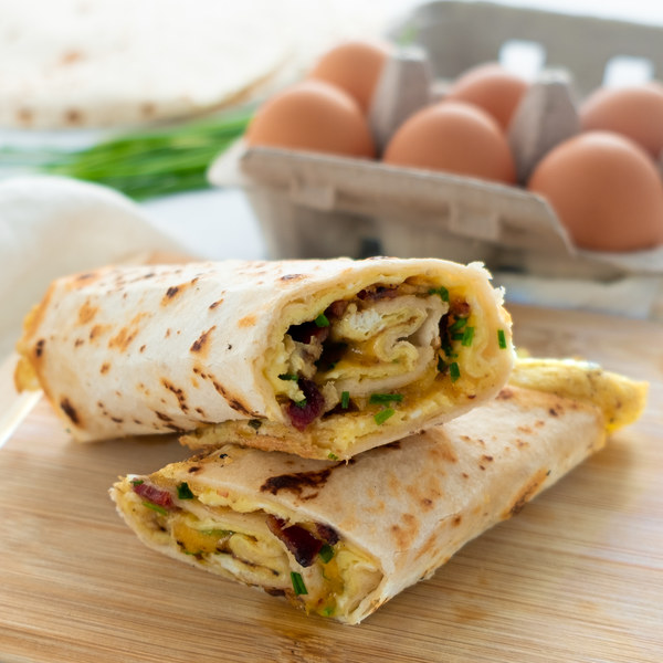 Bacon & Cheddar Tortilla Egg Roll with Chives