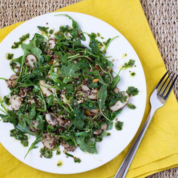 Arugula, Mushroom & Quinoa Salad with Lemon-Chive Vinaigrette