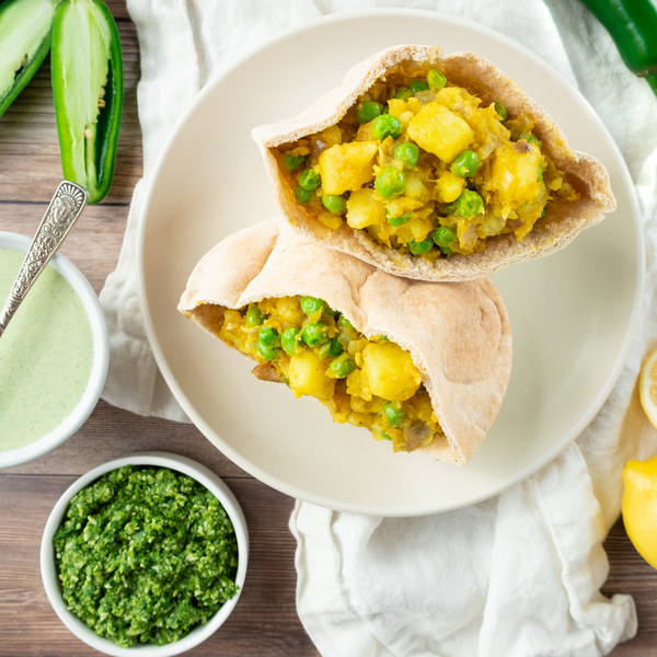 Indian Spiced Potato Pockets with Mint Raita & Cilantro Chutney