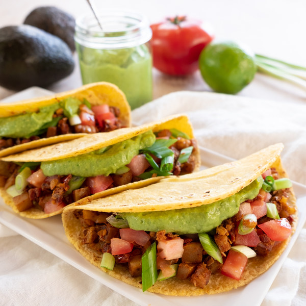 "Potato, Walnut & Sun-Dried Tomato ""Chorizo"" Tacos with Avocado Cream"