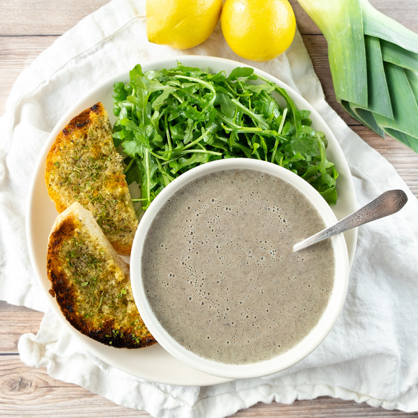 Creamy Portobello Mushroom Soup with Lemony Arugula & Garlic Bread