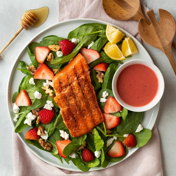 Grilled Salmon Salad with Goat Cheese, Walnuts & Strawberry Dressing