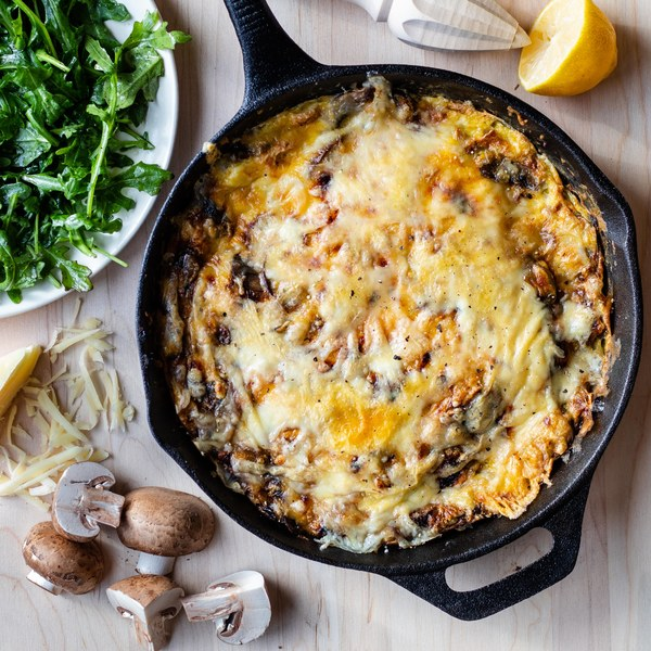 Mushroom, Onion & Mozzarella Frittata with Lemony Arugula