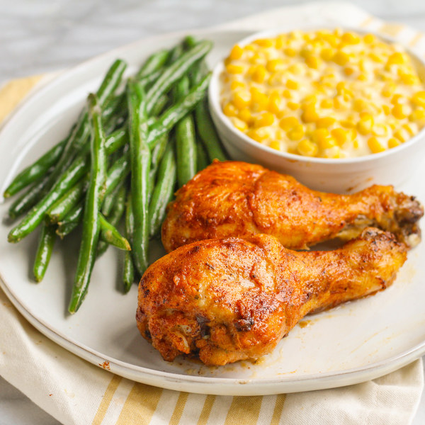 Baked Spicy Cajun Chicken with Creamed Corn & Green Beans