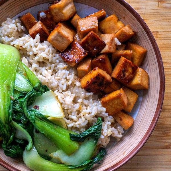 Maple Glazed Tofu with Garlic Sautéed Bok Choy & Basmati Rice