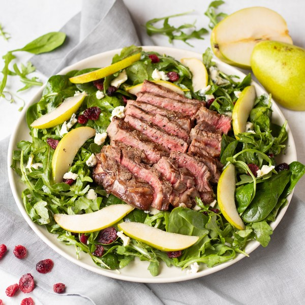 Grilled Ribeye Steak Salad with Pear, Blue Cheese & Cranberries