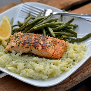Herbed Salmon with Roasted Green Beans & Cauliflower Mash