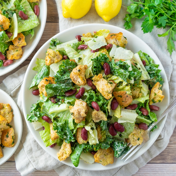 Vegan Caesar Salad with Kale, Kidney Beans & Herbed Croutons