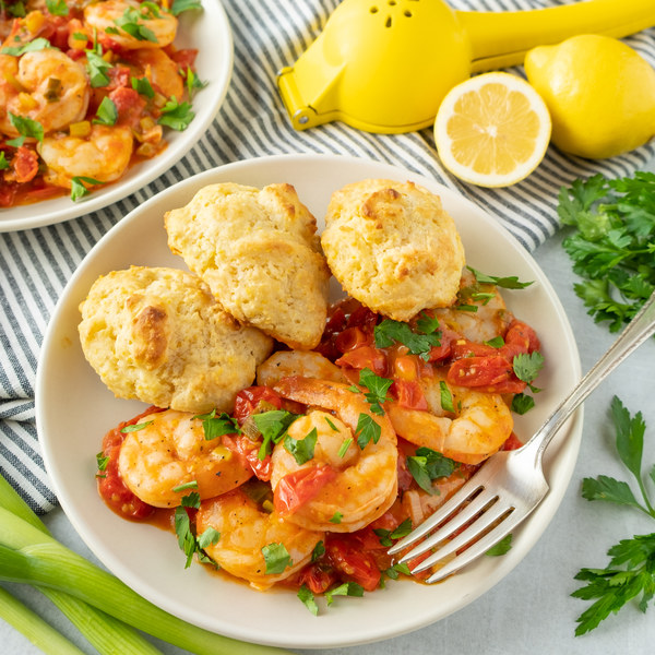 Cherry Tomato & Garlic Shrimp Sauté with Cornmeal Drop Biscuits