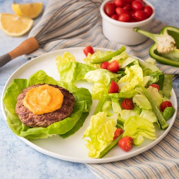 Lettuce Wrap Burgers with Fresh Greens & Paprika Aioli