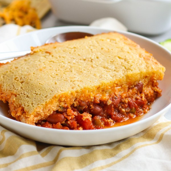 Kidney Bean Chili with Melty Cheddar & Cornbread Topping
