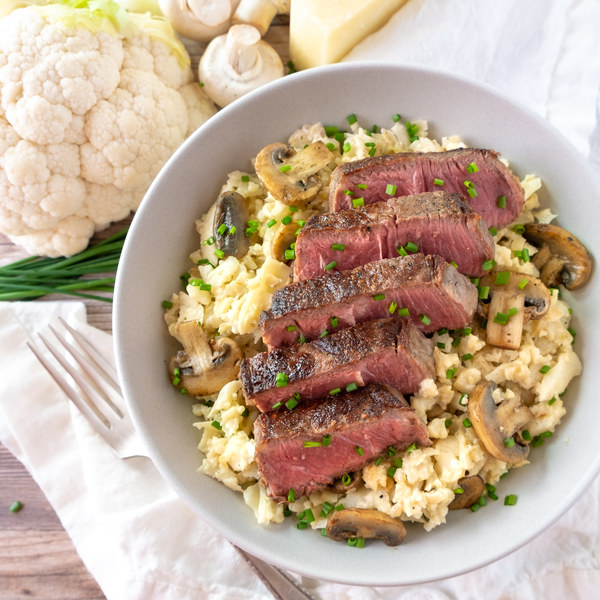 New York Striploin over Cauliflower Risotto with Mushrooms