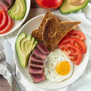 Classic Steak & Egg Breakfast with Avocado, Tomato and Toast