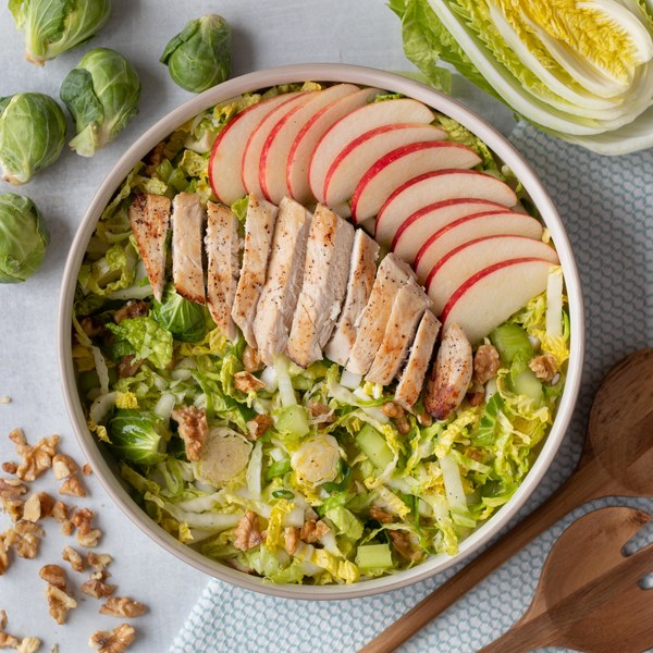 Brussels Sprout Salad with Roasted Chicken, Crisp Apple & Walnuts