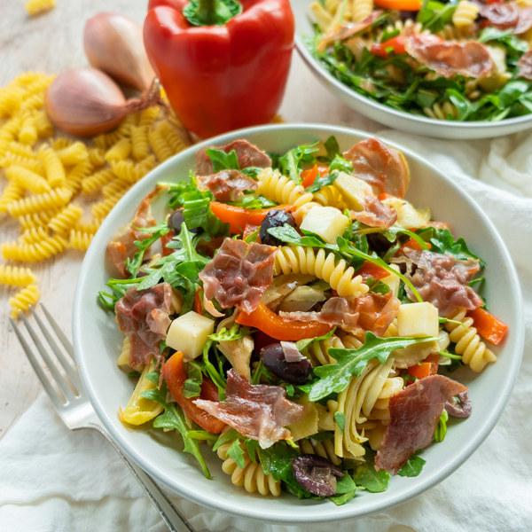 Antipasto Pasta Salad with Crispy Prosciutto, Artichokes & Mozzarella