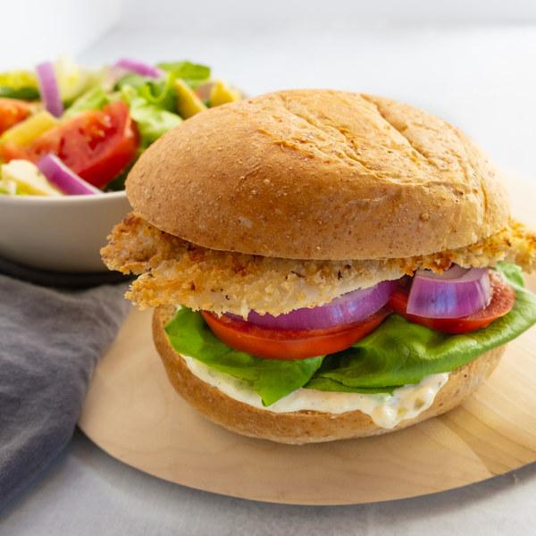 Crispy Fish Sandwich with Garlic-Tartar Sauce & Side Salad
