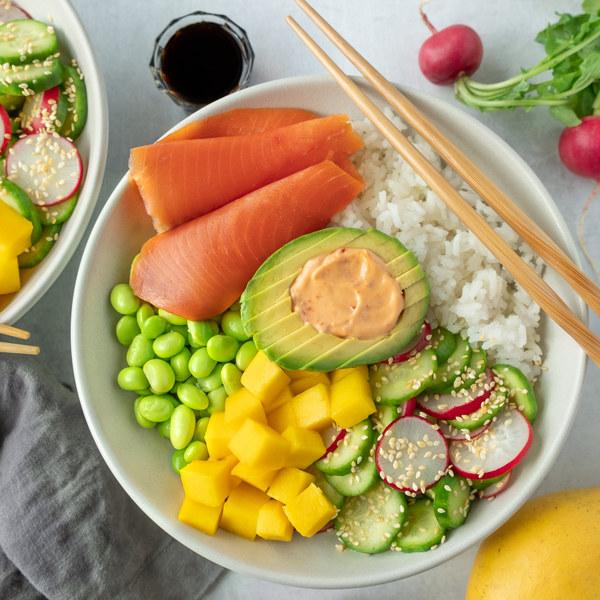 Smoked Salmon Bowl with Ginger Rice, Edamame, Mango & Avocado