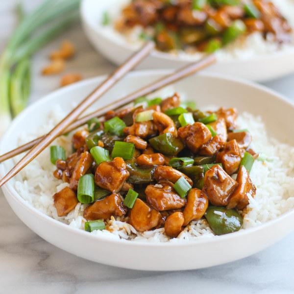 Chicken, Bell Pepper & Cashew Stir-Fry over Rice