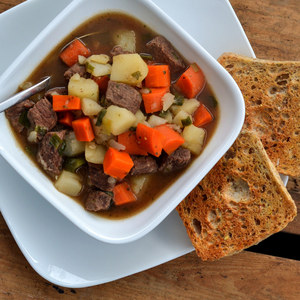 Classic Beef Stew with Potatoes, Carrots, Celery & Crusty Bread