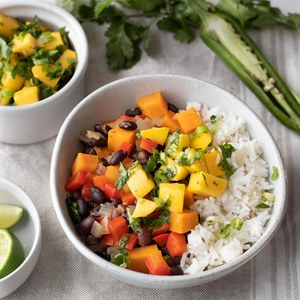 Caribbean Black Bean Stew with Mango Salsa & Rice