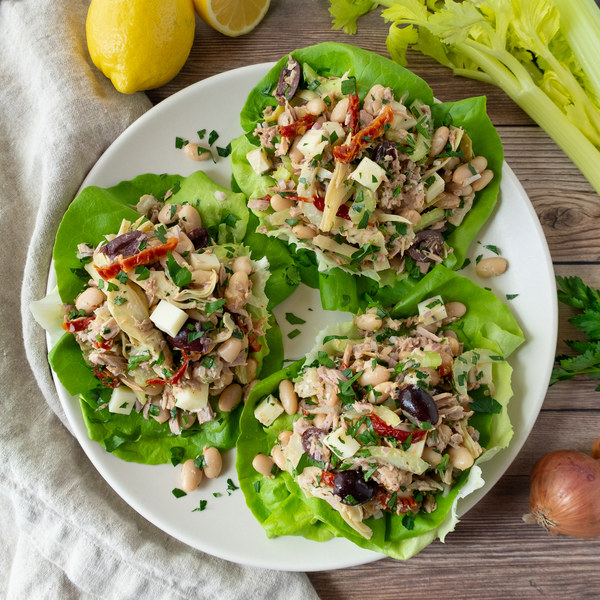 Italian Tuna Salad Lettuce Wraps with Cannellini Beans & Olives