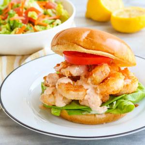 Shrimp Po'Boy with Spicy Mayo & Lemon-Dijon Garden Salad