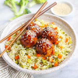Teriyaki Salmon Meatballs with Broccoli, Carrot & Rice Pilaf