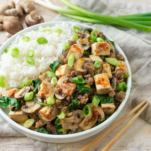Spicy Mapo Tofu with Ground Pork, Mushrooms, Spinach & Green Onion