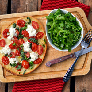 Grape Tomato, Basil & Ricotta Flatbread Pizza with Arugula Salad
