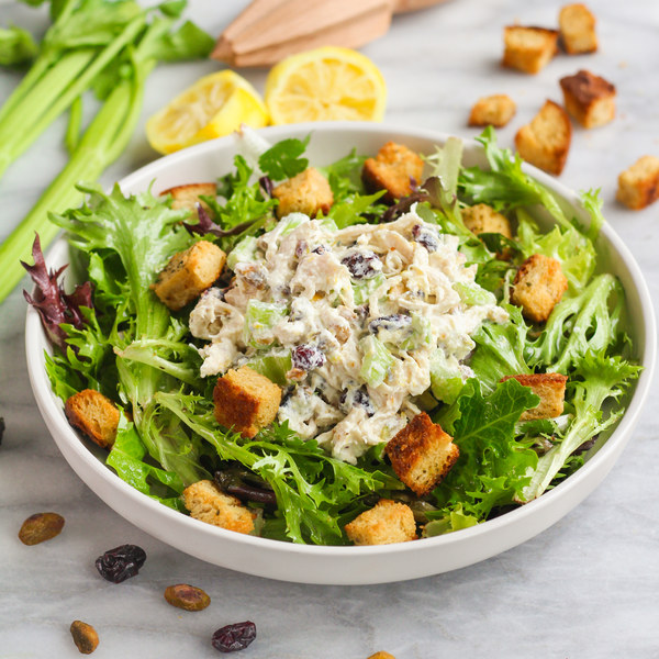 Poached Chicken Salad with Cranberries, Pistachios & Garlic Croutons