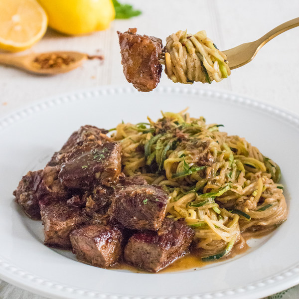 Garlic & Lemon Seared Steak Bites with Zucchini Noodles
