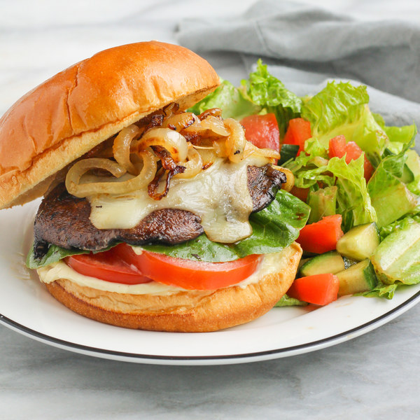 Balsamic Portobello Burger with Caramelized Onions & Side Salad