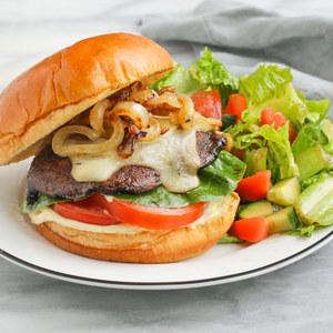 Balsamic Portobello Burger with Caramelized Onions & Side Salad
