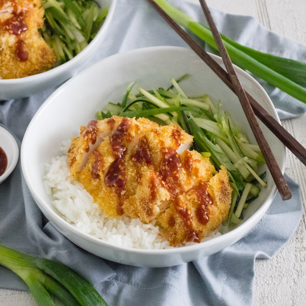 Baked Chicken Katsu with Steamed Rice & Scallion-Cucumber-Apple Slaw