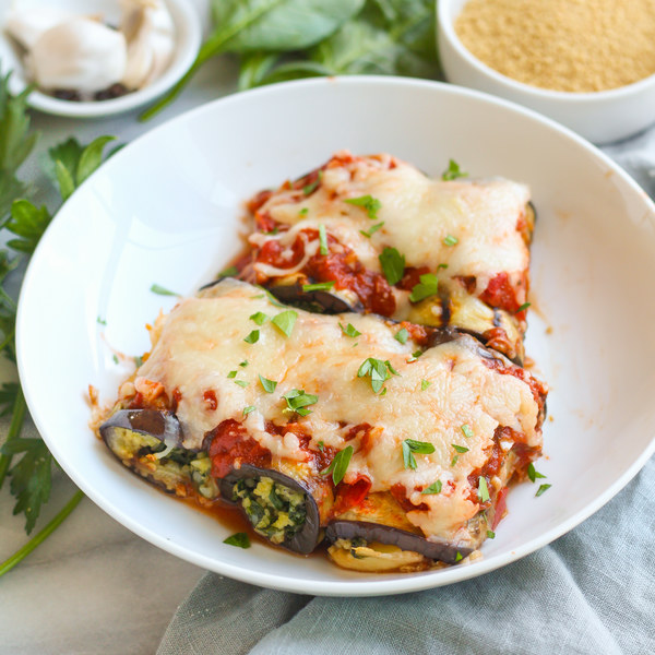 Baked Eggplant Rollups with Couscous, Spinach & Mozzarella