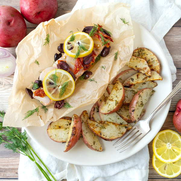 Baked Mediterranean Salmon Parcels with Lemon-Dill Roasted Potatoes