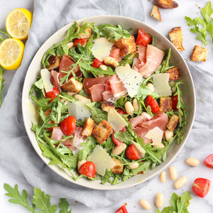 Lemony White Bean-Arugula Salad with Prosciutto & Homemade Croutons