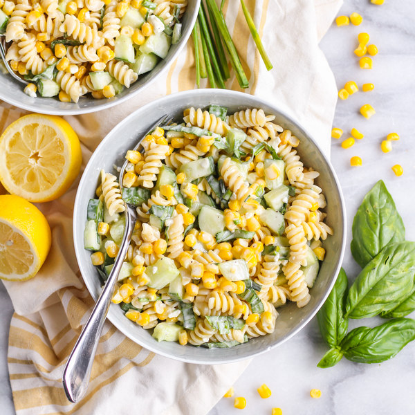 Creamy Corn Pasta Salad with Cucumber, Basil, Chives & Pine Nuts