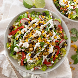 Mexican Street Corn Salad with Black Beans, Radish, Feta & Lime Crema
